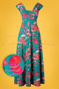 Sitges Birdy Maxi Dress Années 60 en Jade