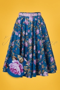 50s Violetta Swing Skirt in Blue
