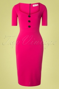 50s Roxanne Pencil Dress in Magenta