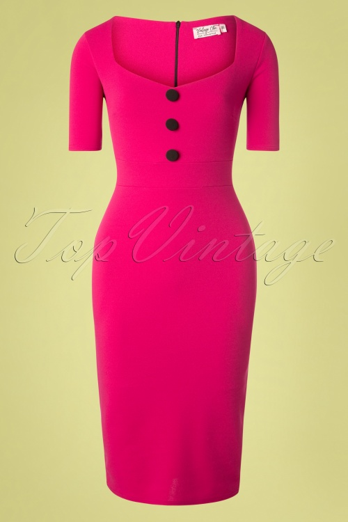 Vintage Chic 28735 Scuba Crepe Short Sleeve Pink Magenta Pencil Dress 20190206 005W