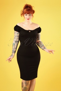 50s Lorena Plain Pencil Dress in Black
