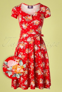 Topvintage Boutique Collection 29074 Red Floral Dress Swing Dress 20190206 002W1