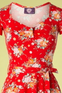 Topvintage Boutique Collection 29074 Red Floral Dress Swing Dress 20190206 002V
