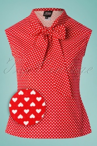 Retrolicious 29026 Heart Dot Red White Blouse 20190206 002Z