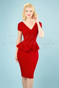 Collectif Clothing 27465 Maven Plain Pencil Dress in Red 20180815 005W