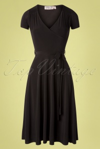 50s Leia Cross Over Swing Dress in Black