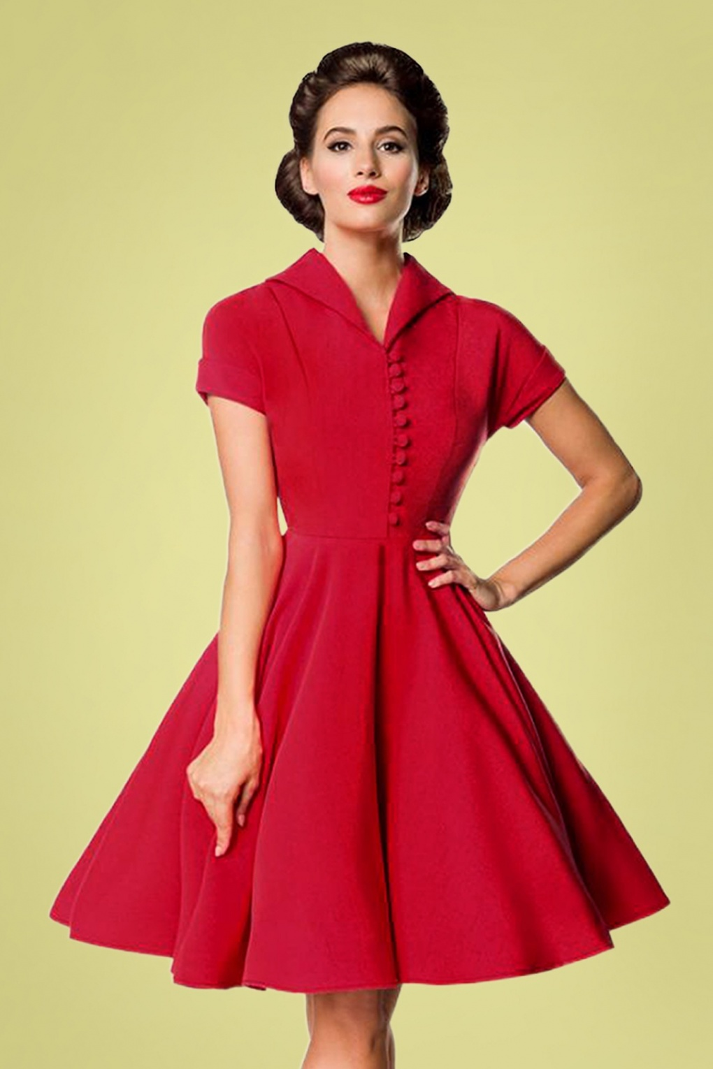 1940s Fashion Advice for Tall Women 40s Valencia Swing Dress in Deep Red £72.60 AT vintagedancer.com