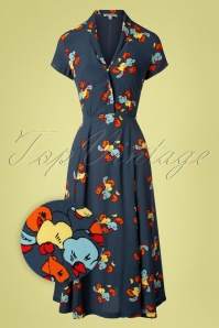 70s Adele Sweet Pea Floral Midi Dress in Blue