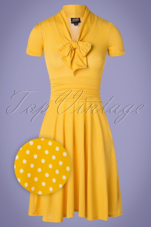 Retrolicious 29027 50s Debra Polkadot Yellow Bow Swing Dress 20190206 006Z