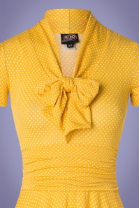 Retrolicious 29027 50s Debra Polkadot Yellow Bow Swing Dress 20190206 006V