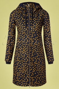 Danafae 26684 Line Softshell Polkadot Yellow Blue Raincoat Coat 20190206 004W