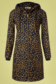 Danafae 26684 Line Softshell Polkadot Yellow Blue Raincoat Coat 20190206 003W