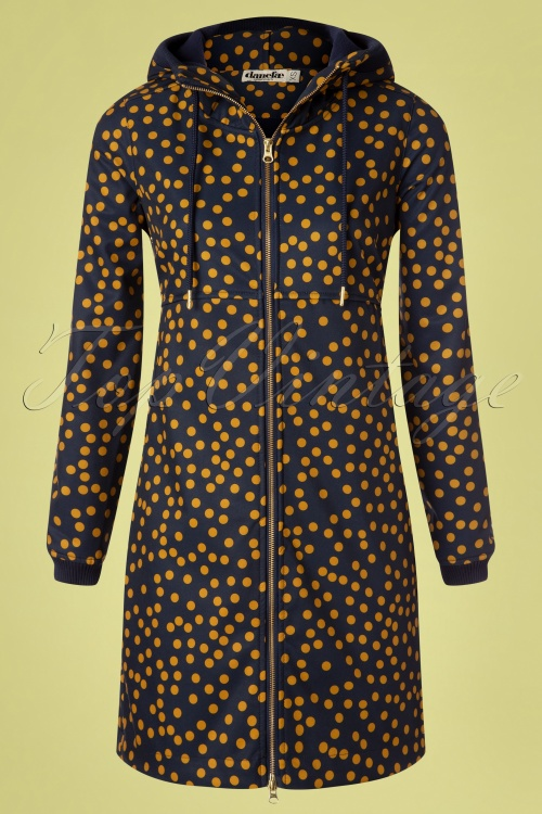 Danafae 26684 Line Softshell Polkadot Yellow Blue Raincoat Coat 20190206 003W