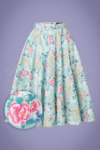 50s Sakura Swing Skirt in Mint Blue