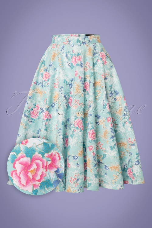 Bunny 28835 Sakura 50s Swing Skirt in Blue 20190205 009W1