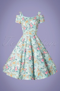 Bunny 28827 Yoko 50's Dress Blue Flowers Roses Pink Swingdress 20190206 007W