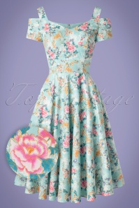 Bunny 28827 Yoko 50's Dress Blue Flowers Roses Pink Swingdress 20190206 004 2W1