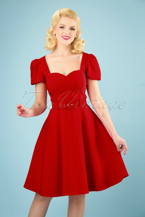 Collectif Clothing 27421 Paisley Plain Swing Dress in Red 20180814 008W