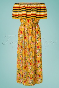 Saffron Maxi Beach Dress Années 70 en Moutarde