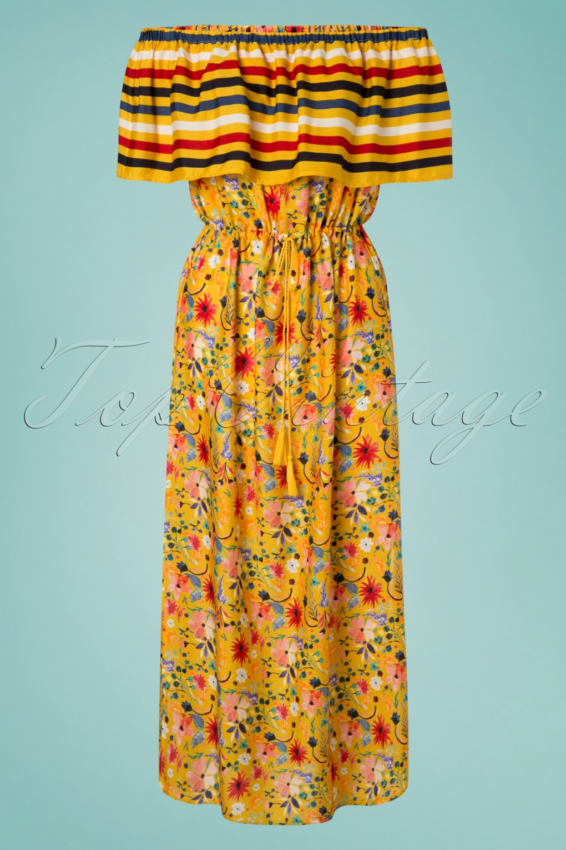 70s Dresses – Disco Dress, Hippie Dress, Wrap Dress 70s Saffron Maxi Beach Dress in Mustard £21.38 AT vintagedancer.com