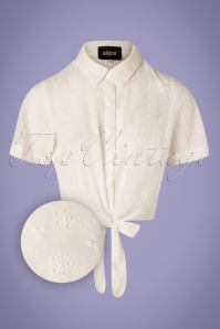 50s Sammy Broderie Anglaise Tie Blouse in White
