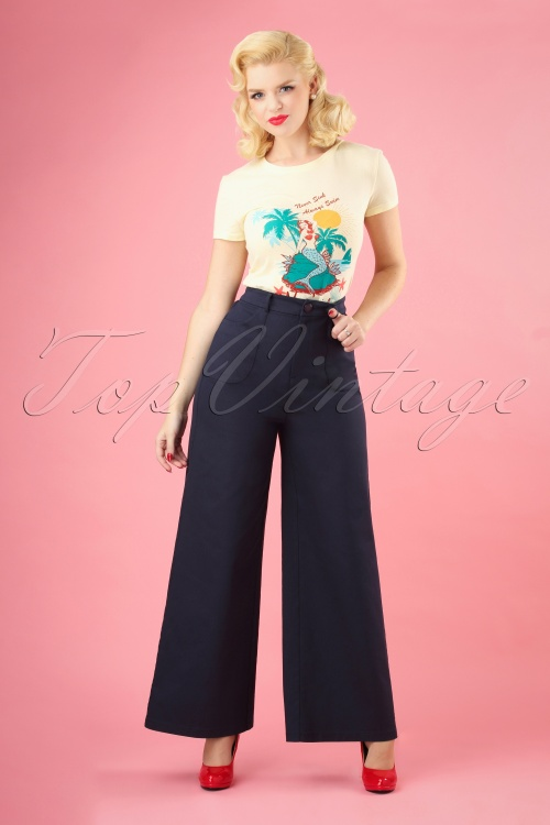 Collectif Clothing 27385 Sophia Plain Trousers in Navy Blue 20180816 004W