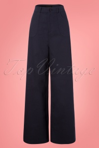 Collectif Clothing 27385 Sophia Plain Trousers in Navy Blue 20180816 003W
