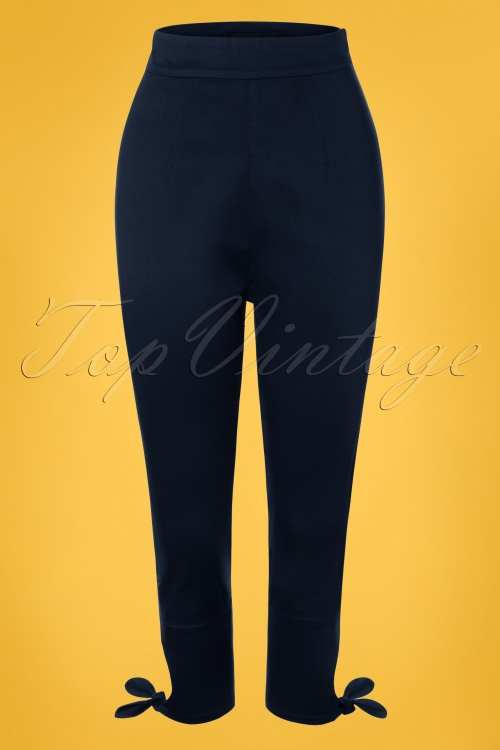 Collectif Clothing 27375 Anna Plain Capris in Navy 20180816 002W