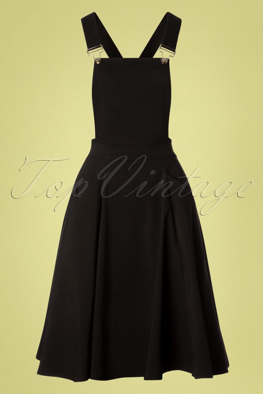 1950s Housewife Dress | 50s Day Dresses 50s Kayden Overalls Swing Dress in Black £49.52 AT vintagedancer.com