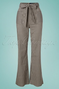 Collectif Clothing 27450 Bella Striped Trousers in Black and White 20180816 002W