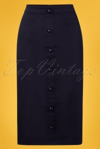Collectif Clothing 27377 Bettina Pencil Skirt in Navy 20180815 003W