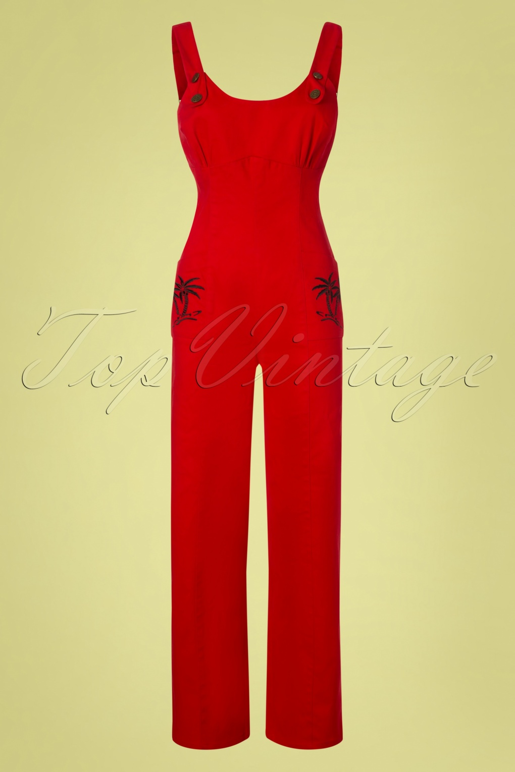 1950s Fashion History: Women's Clothing 50s Jenna Palm Tree Dungarees in Red £67.96 AT vintagedancer.com