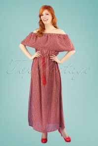 70s Goya Maxi Beach Dress in Red
