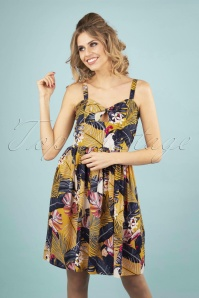 Paradise Swing Dress Années 50 en Jaune Moutarde