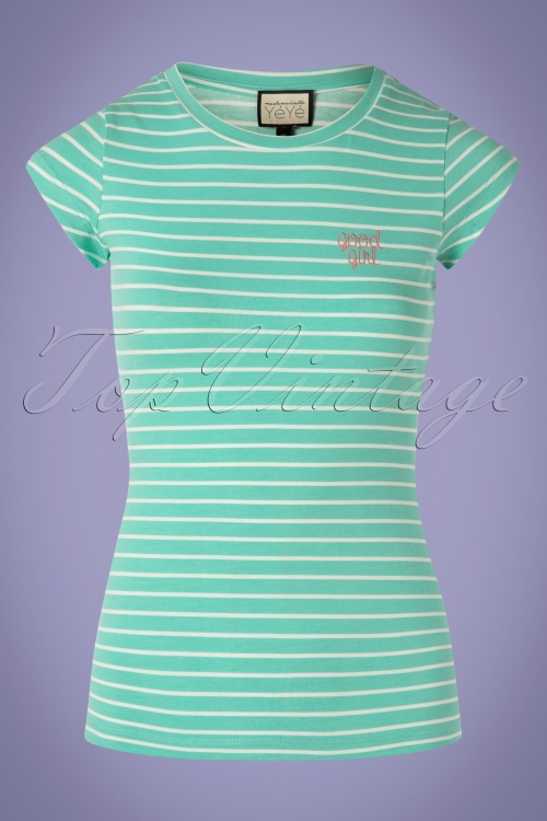 Mademoiselle Yeye 27055 Tshirt Casual Eleganze Green Striped White Goodgirl 20190207 003W