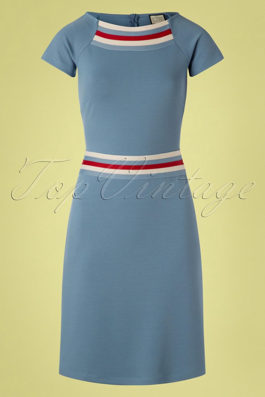 1960s Dresses | 60s Dresses Mod, Mini, Jackie O, Hippie 60s A Trip To Rome Dress in Stone Blue �82.78 AT vintagedancer.com