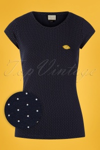 60s Casual Elegance Top in Navy and White Dots
