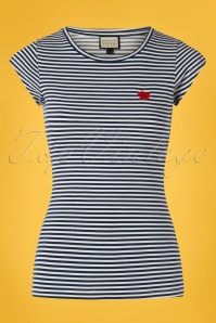 60s Casual Elegance Top in Blue and White Stripes