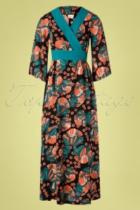 Mademoiselle YéYé 70s Festival Feelings Floral Maxi Dress in Black
