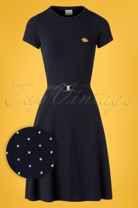 60s Oh Yeah Polkadots Dress in Navy and White