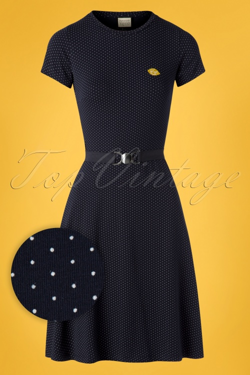 Mademoiselle Yeye 27063 Oh Yeah Dress Blue Polkadot Lemon Yellow 20190207 002W1