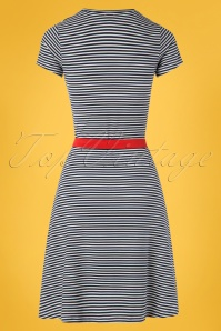 Mademoiselle Yeye 27064 Oh Yeah Dress Blue Striped White 20190207 007W