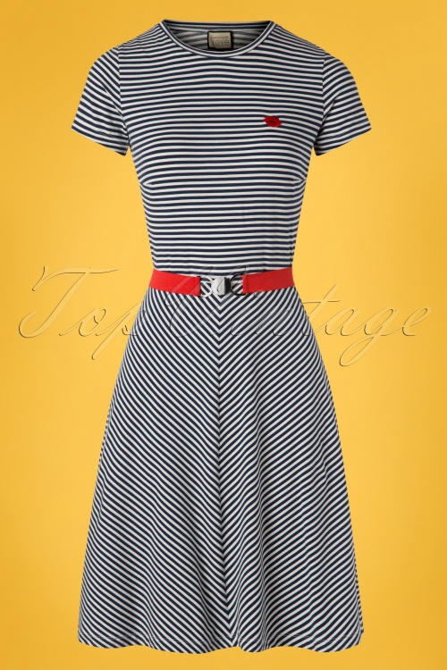 Mademoiselle Yeye 27064 Oh Yeah Dress Blue Striped White 20190207 003W