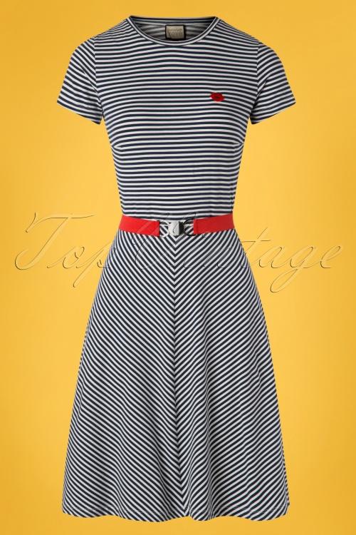 Mademoiselle Yeye 27064 Oh Yeah Dress Blue Striped White 20190207 003W