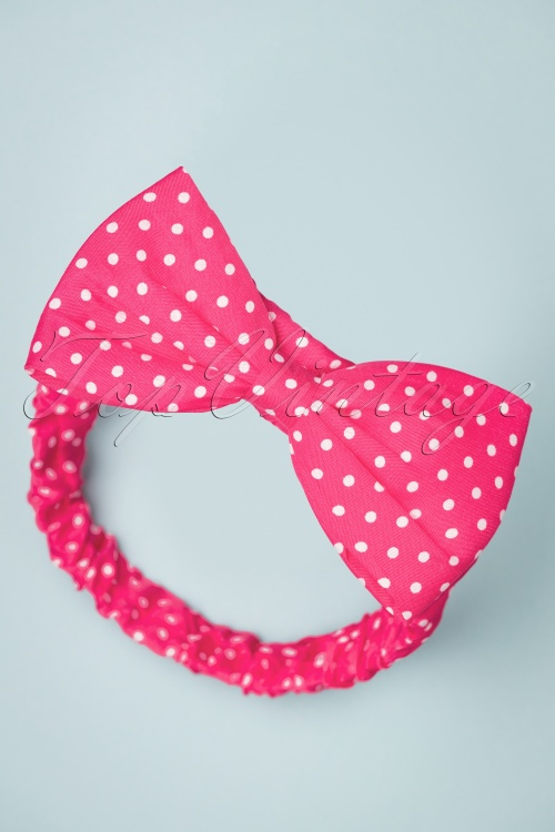 Banned Retro 26834 Headband Pink Polkadot White Bow 20190207 009W