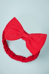 Dionne Bow Head Band Années 50 en Rouge Vif