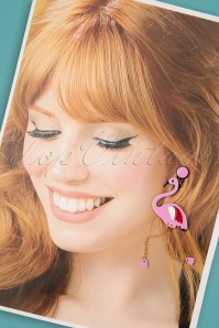 Love Ur Look 28092 Earrings Red 60s Flamingo Pink Gold Red White 20190207 009W