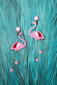 Flirty Flamingo Earrings Années 60 en Rose