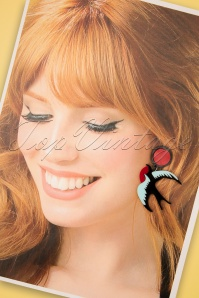 Love Ur Look 28093 Earrings Red 60s Swallow Blue Black Red 20190207 011W
