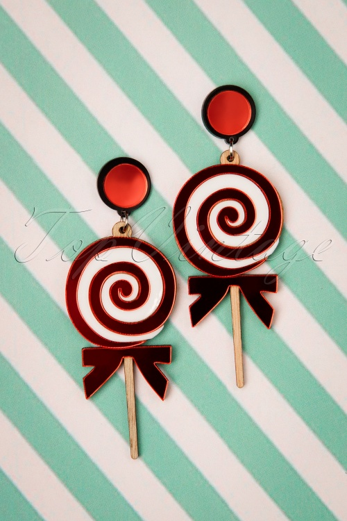 Love Ur Look 28094 Earrings Red White Wood Lollypop 60s Swirl 20190207 010W